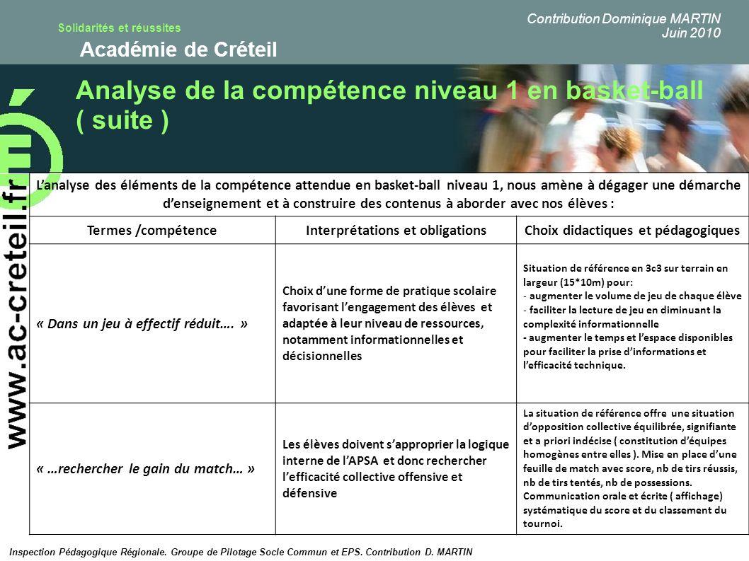 Solidarités et réussites Académie de Créteil Analyse de la compétence niveau 1 en basket-ball ( suite ) Lanalyse des éléments de la compétence attendu