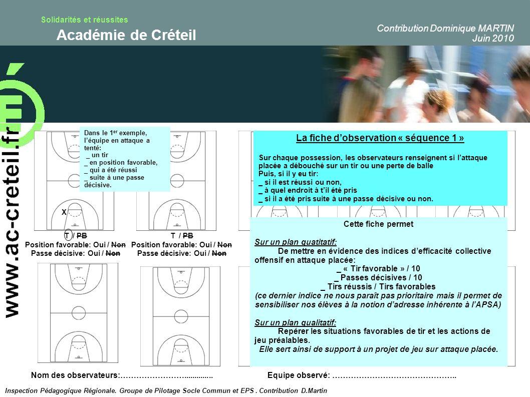 Solidarités et réussites Académie de Créteil T / PB Position favorable: Oui / Non Passe décisive: Oui / Non X T / PB Position favorable: Oui / Non Pas