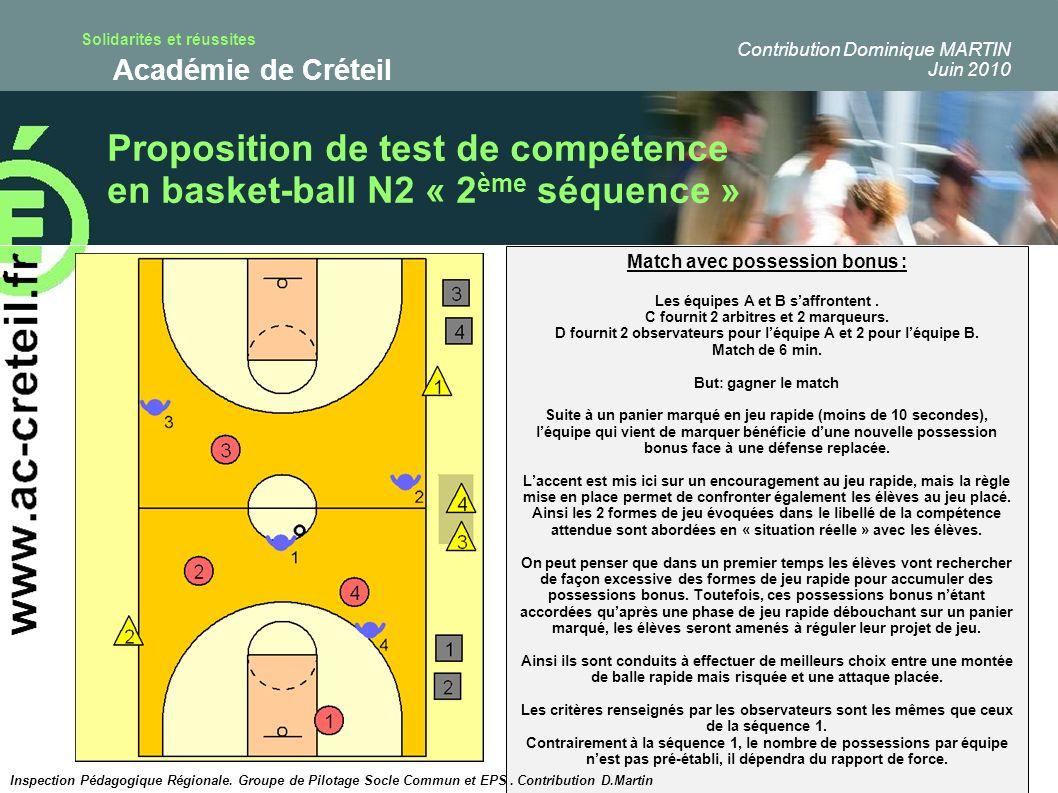 Solidarités et réussites Académie de Créteil Proposition de test de compétence en basket-ball N2 « 2 ème séquence » Match avec possession bonus : Les