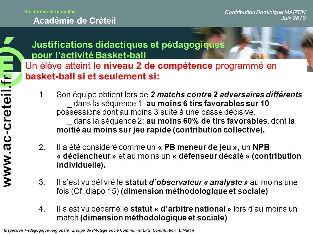 Solidarités et réussites Académie de Créteil Justifications didactiques et pédagogiques pour l'activité Basket-ball Inspection Pédagogique Régionale.