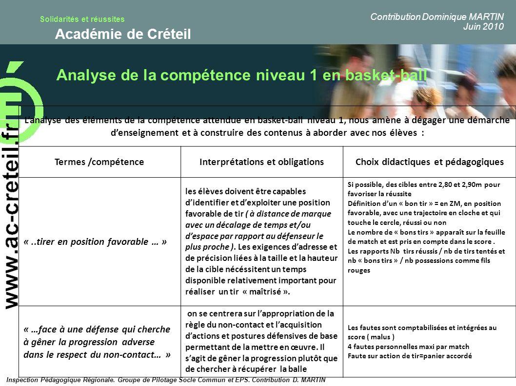 Solidarités et réussites Académie de Créteil Lanalyse des éléments de la compétence attendue en basket-ball niveau 1, nous amène à dégager une démarch