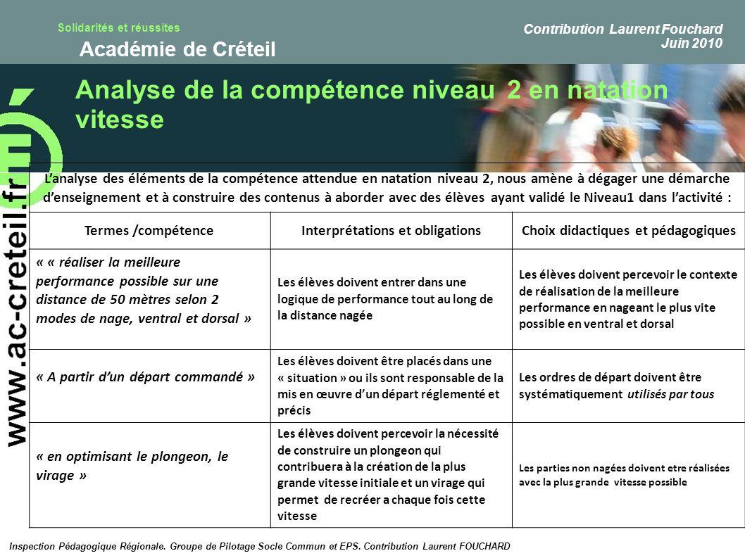 Solidarités et réussites Académie de Créteil Analyse de la compétence niveau 2 en natation vitesse Lanalyse des éléments de la compétence attendue en