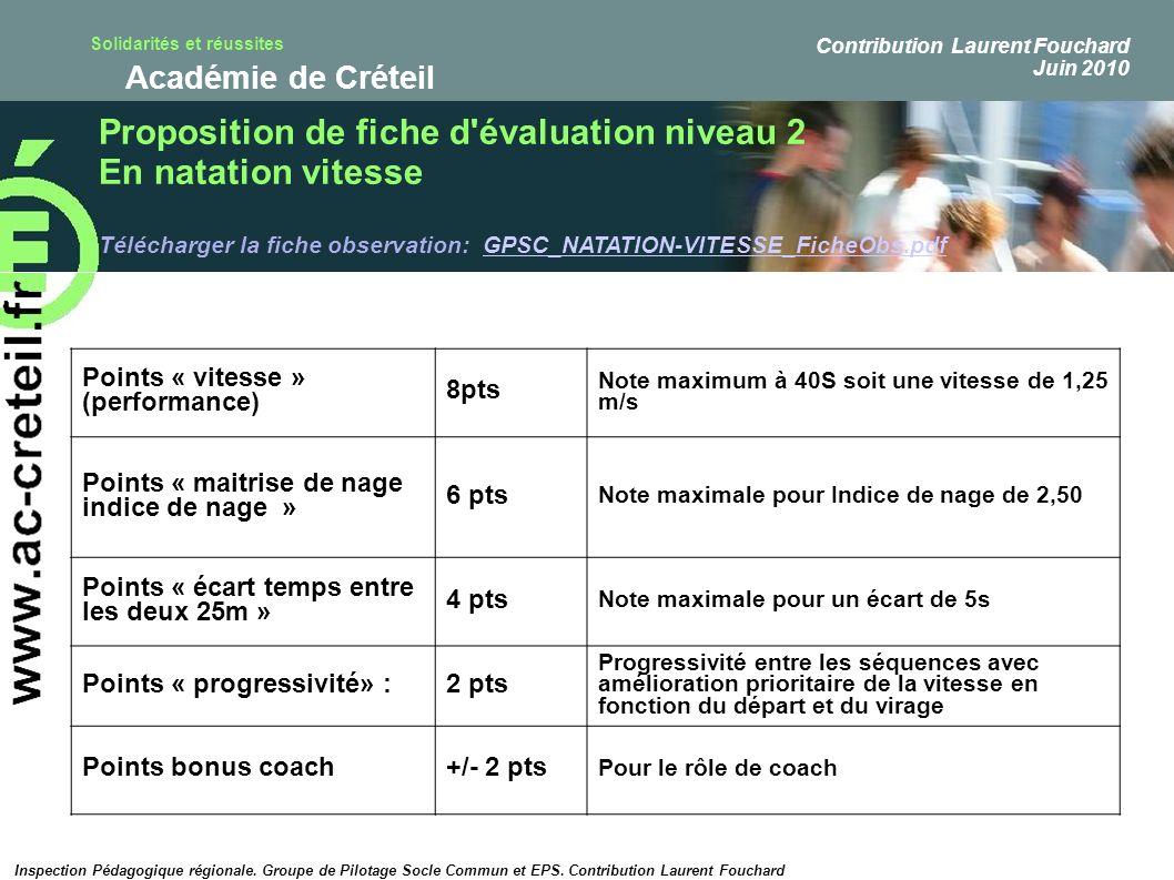 Solidarités et réussites Académie de Créteil Points « vitesse » (performance) 8pts Note maximum à 40S soit une vitesse de 1,25 m/s Points « maitrise d