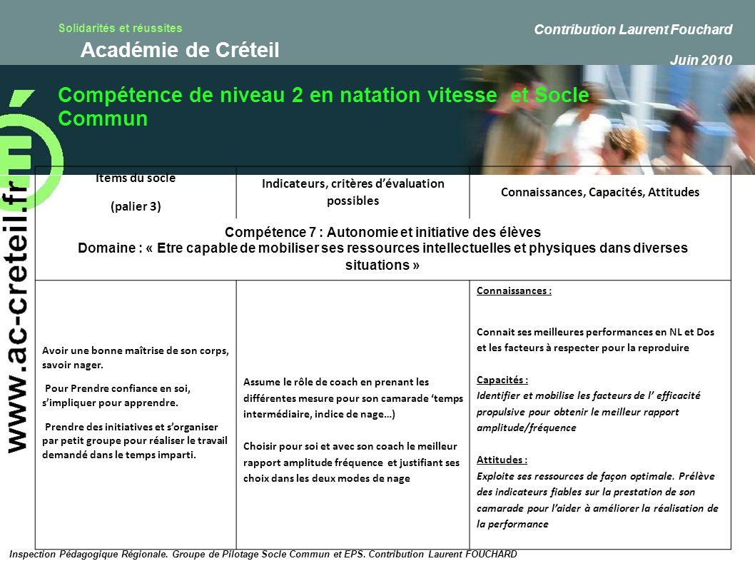 Solidarités et réussites Académie de Créteil Compétence de niveau 2 en natation vitesse et Socle Commun Inspection Pédagogique Régionale. Groupe de Pi