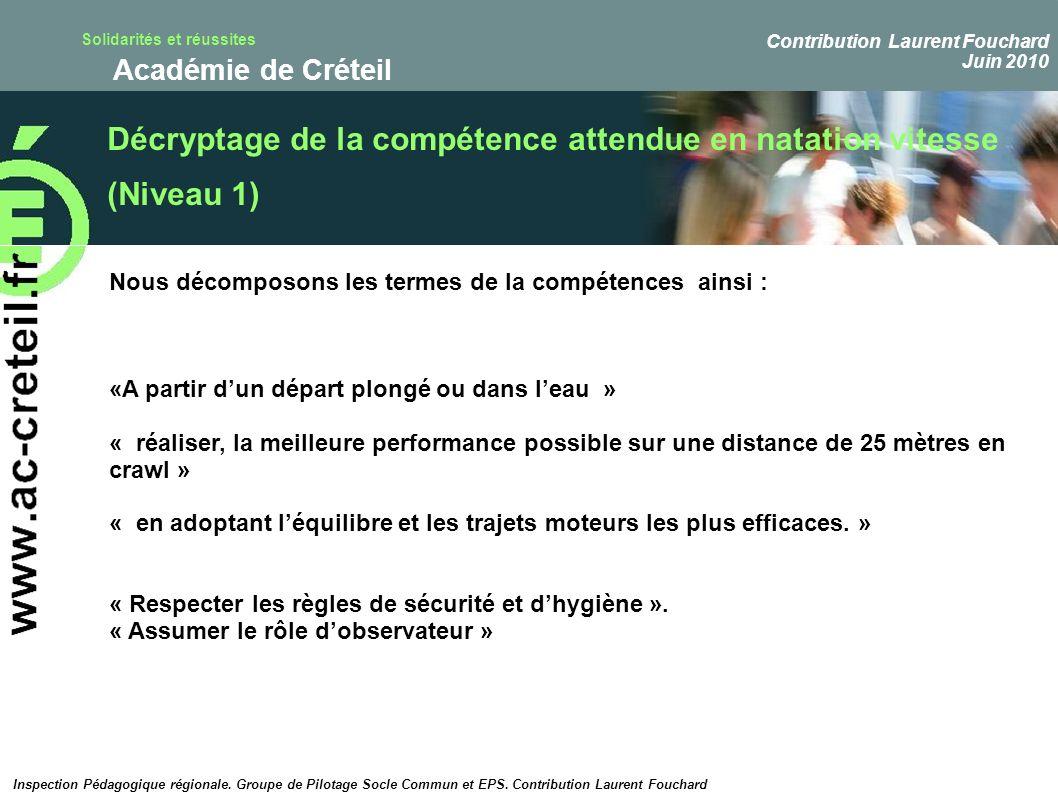 Solidarités et réussites Académie de Créteil Décryptage de la compétence attendue en natation vitesse (Niveau 1) Nous décomposons les termes de la com
