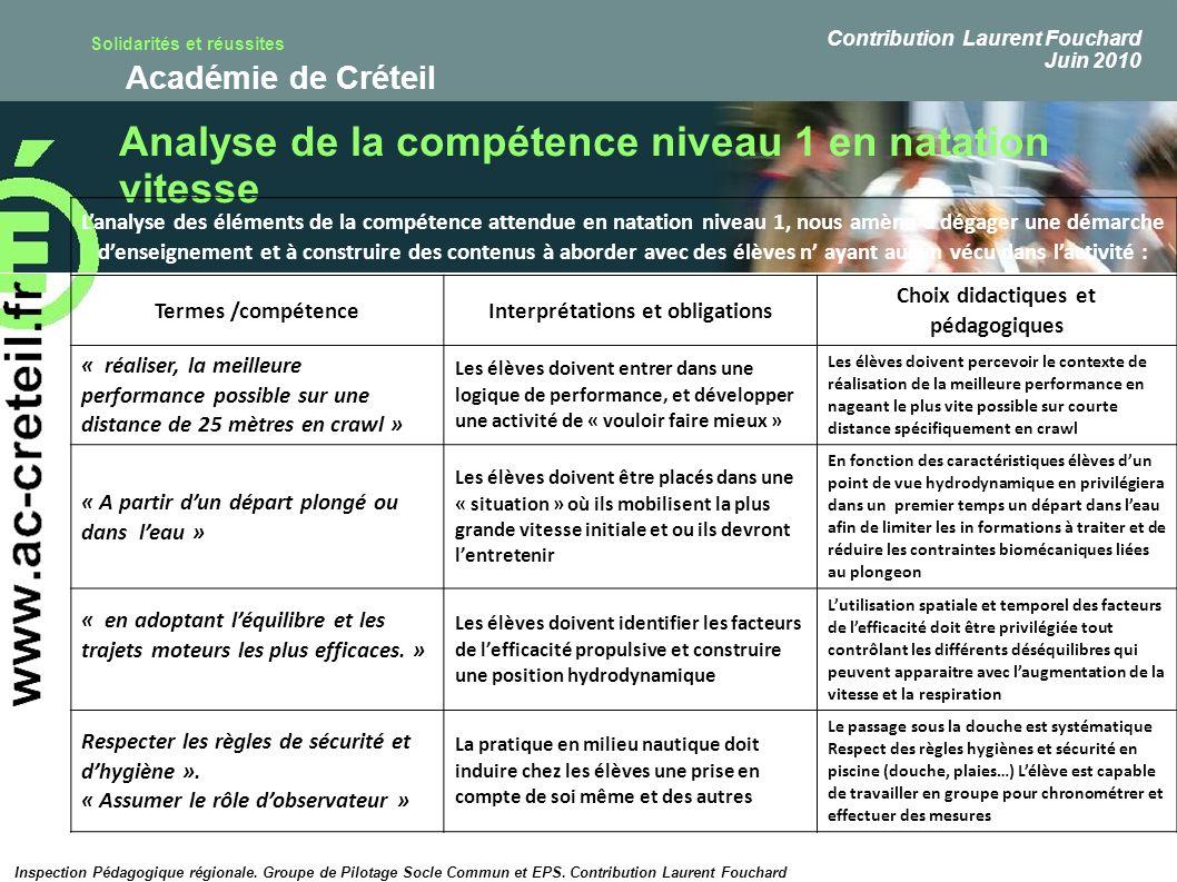 Solidarités et réussites Académie de Créteil Analyse de la compétence niveau 1 en natation vitesse Lanalyse des éléments de la compétence attendue en