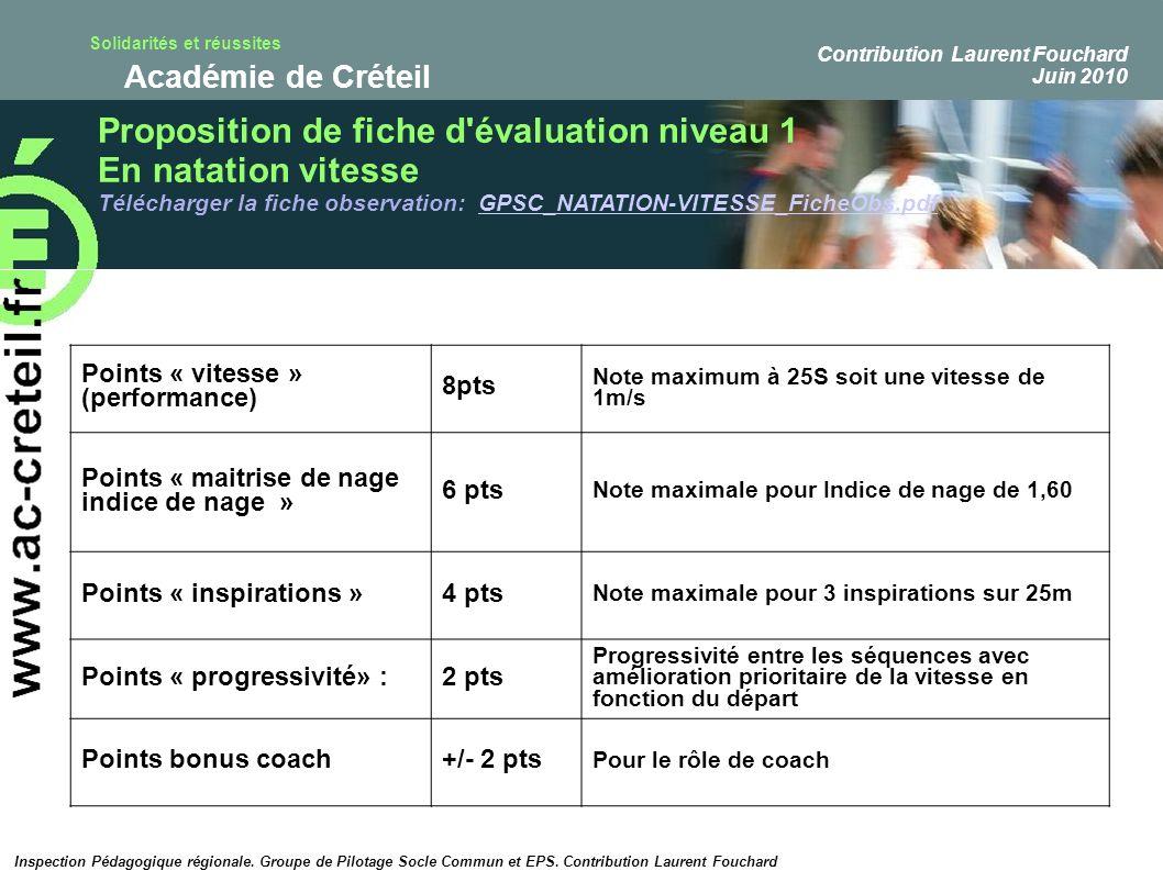 Solidarités et réussites Académie de Créteil Points « vitesse » (performance) 8pts Note maximum à 25S soit une vitesse de 1m/s Points « maitrise de na