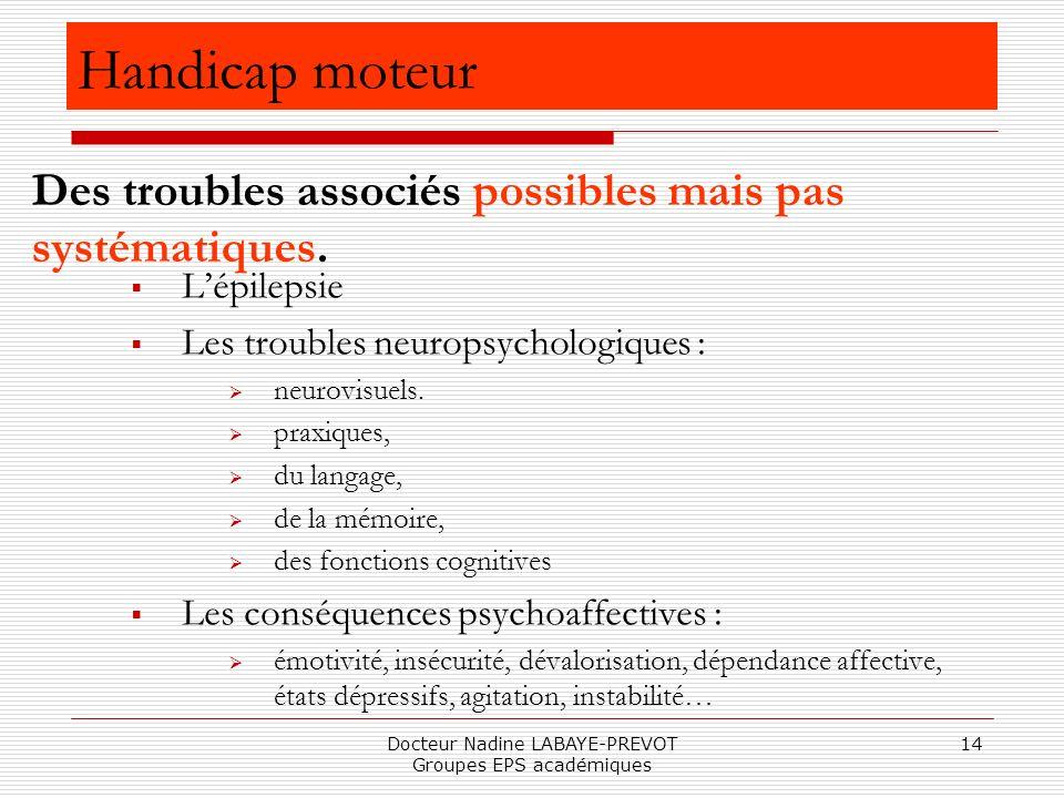 Docteur Nadine LABAYE-PREVOT Groupes EPS académiques 14 Lépilepsie Les troubles neuropsychologiques : neurovisuels. praxiques, du langage, de la mémoi