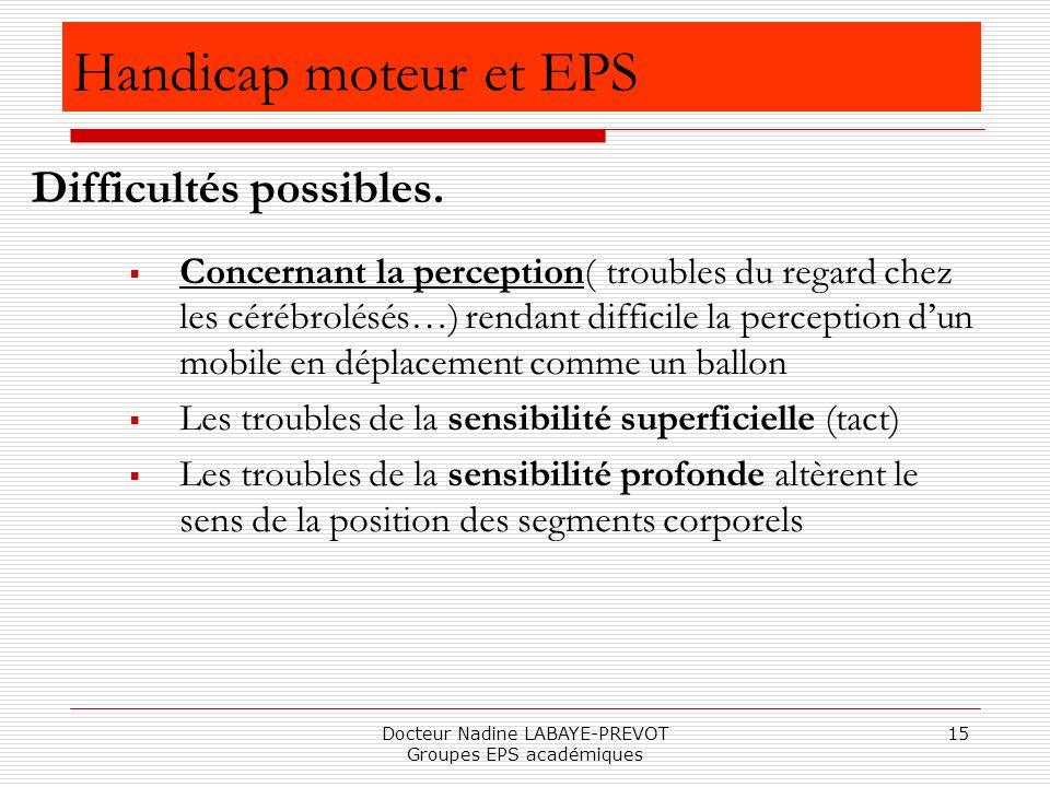 Docteur Nadine LABAYE-PREVOT Groupes EPS académiques 15 Handicap moteur et EPS Concernant la perception( troubles du regard chez les cérébrolésés…) re
