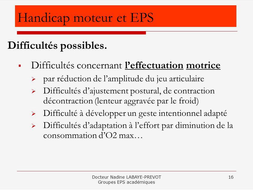 Docteur Nadine LABAYE-PREVOT Groupes EPS académiques 16 Difficultés concernant leffectuation motrice par réduction de lamplitude du jeu articulaire Di