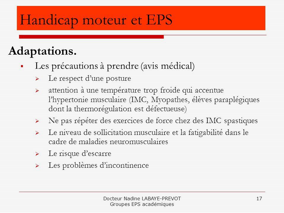 Docteur Nadine LABAYE-PREVOT Groupes EPS académiques 17 Les précautions à prendre (avis médical) Le respect dune posture attention à une température t