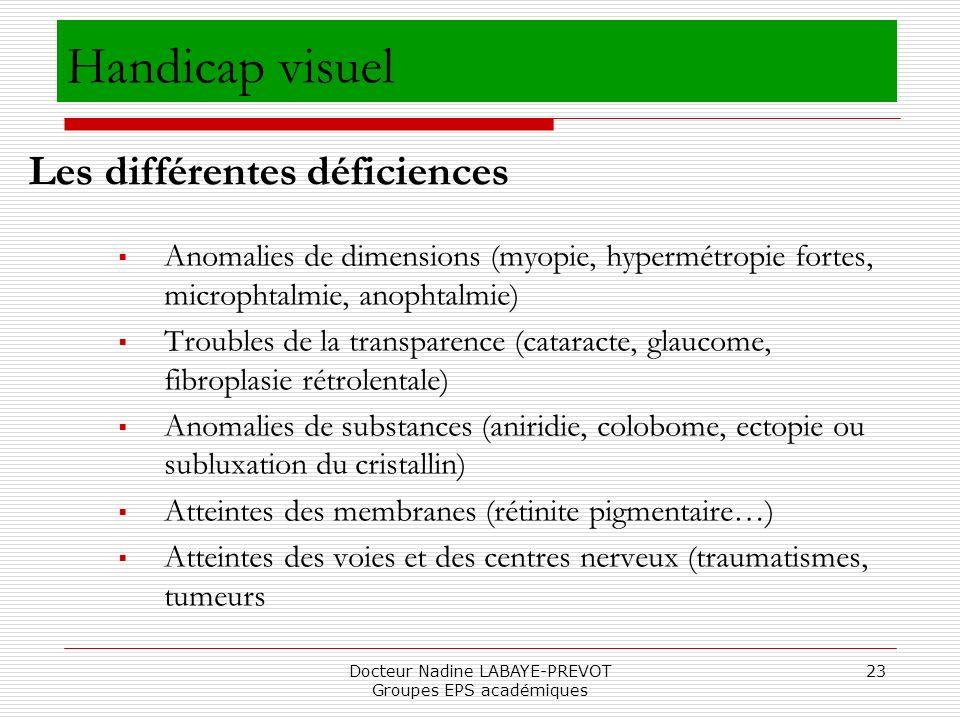 Docteur Nadine LABAYE-PREVOT Groupes EPS académiques 23 Handicap visuel Anomalies de dimensions (myopie, hypermétropie fortes, microphtalmie, anophtal