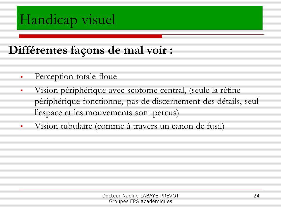 Docteur Nadine LABAYE-PREVOT Groupes EPS académiques 24 Perception totale floue Vision périphérique avec scotome central, (seule la rétine périphériqu