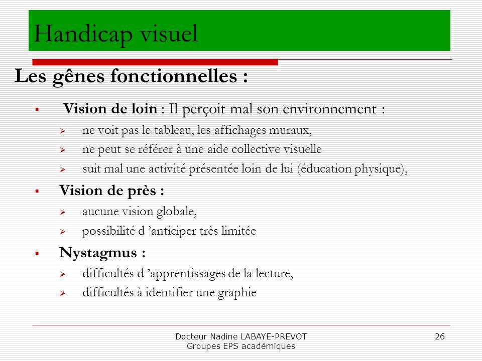 Docteur Nadine LABAYE-PREVOT Groupes EPS académiques 26 Vision de loin : Il perçoit mal son environnement : ne voit pas le tableau, les affichages mur