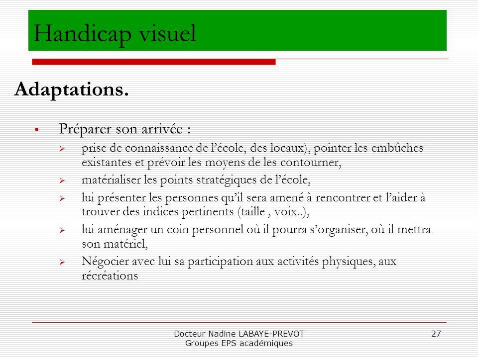 Docteur Nadine LABAYE-PREVOT Groupes EPS académiques 27 Préparer son arrivée : prise de connaissance de lécole, des locaux), pointer les embûches exis