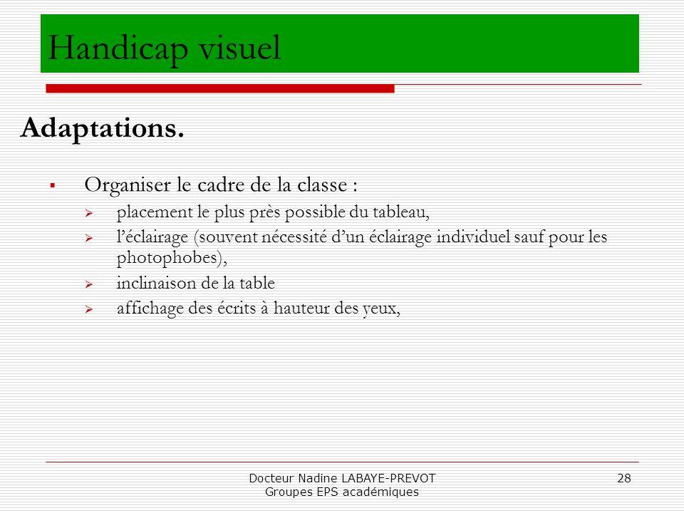 Docteur Nadine LABAYE-PREVOT Groupes EPS académiques 28 Organiser le cadre de la classe : placement le plus près possible du tableau, léclairage (souv