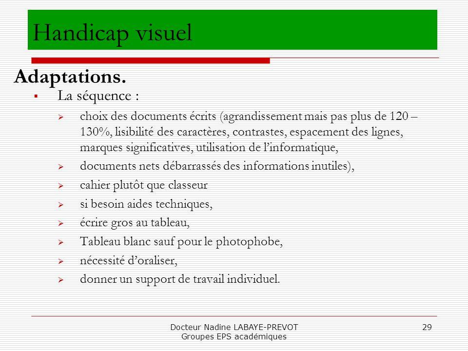 Docteur Nadine LABAYE-PREVOT Groupes EPS académiques 29 La séquence : choix des documents écrits (agrandissement mais pas plus de 120 – 130%, lisibili