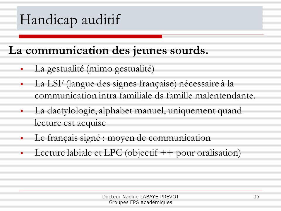 Docteur Nadine LABAYE-PREVOT Groupes EPS académiques 35 La gestualité (mimo gestualité) La LSF (langue des signes française) nécessaire à la communica