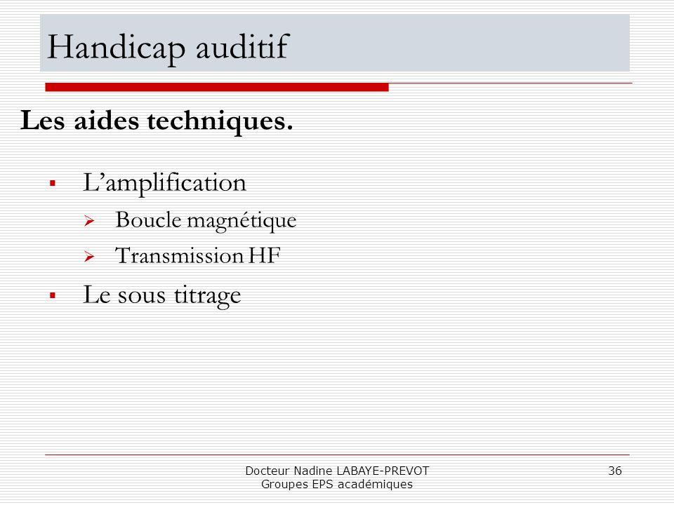 Docteur Nadine LABAYE-PREVOT Groupes EPS académiques 36 Lamplification Boucle magnétique Transmission HF Le sous titrage Les aides techniques. Handica