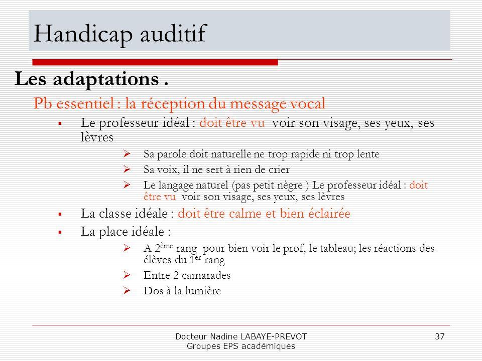 Docteur Nadine LABAYE-PREVOT Groupes EPS académiques 37 Pb essentiel : la réception du message vocal Le professeur idéal : doit être vu voir son visag
