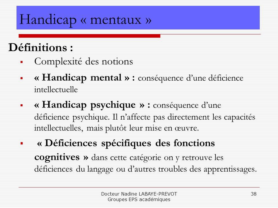 Docteur Nadine LABAYE-PREVOT Groupes EPS académiques 38 Handicap « mentaux » Définitions : Complexité des notions « Handicap mental » : conséquence du