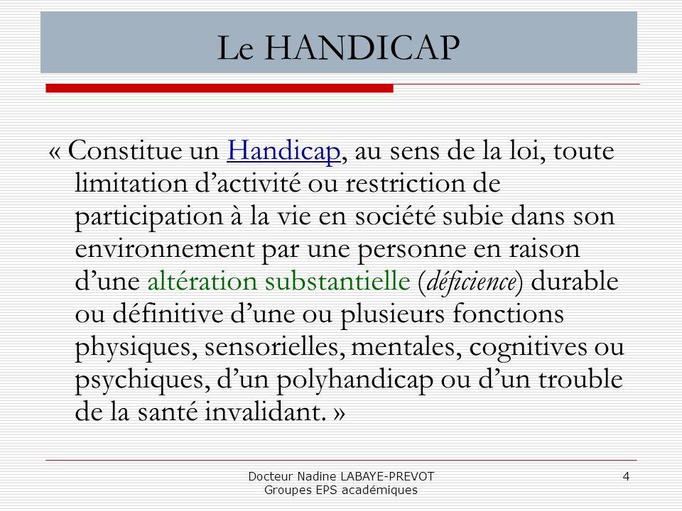 Docteur Nadine LABAYE-PREVOT Groupes EPS académiques 4 Le HANDICAP « Constitue un Handicap, au sens de la loi, toute limitation dactivité ou restricti