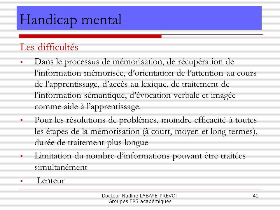 Docteur Nadine LABAYE-PREVOT Groupes EPS académiques 41 Les difficultés Dans le processus de mémorisation, de récupération de linformation mémorisée,