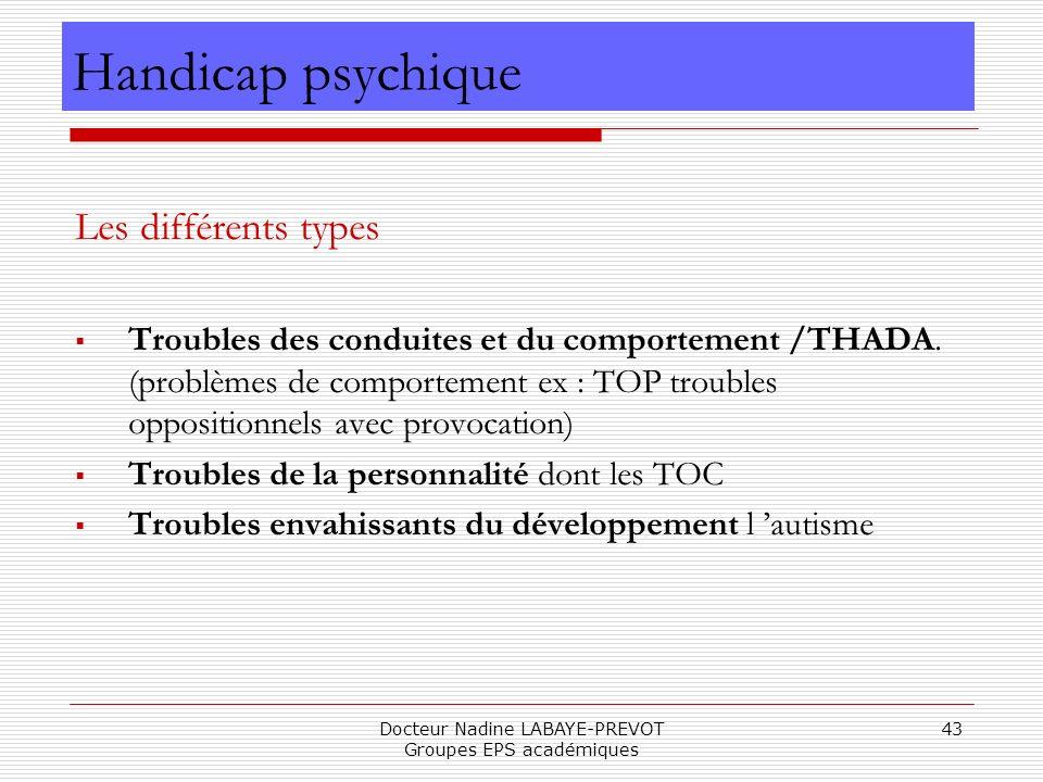 Docteur Nadine LABAYE-PREVOT Groupes EPS académiques 43 Les différents types Troubles des conduites et du comportement /THADA. (problèmes de comportem
