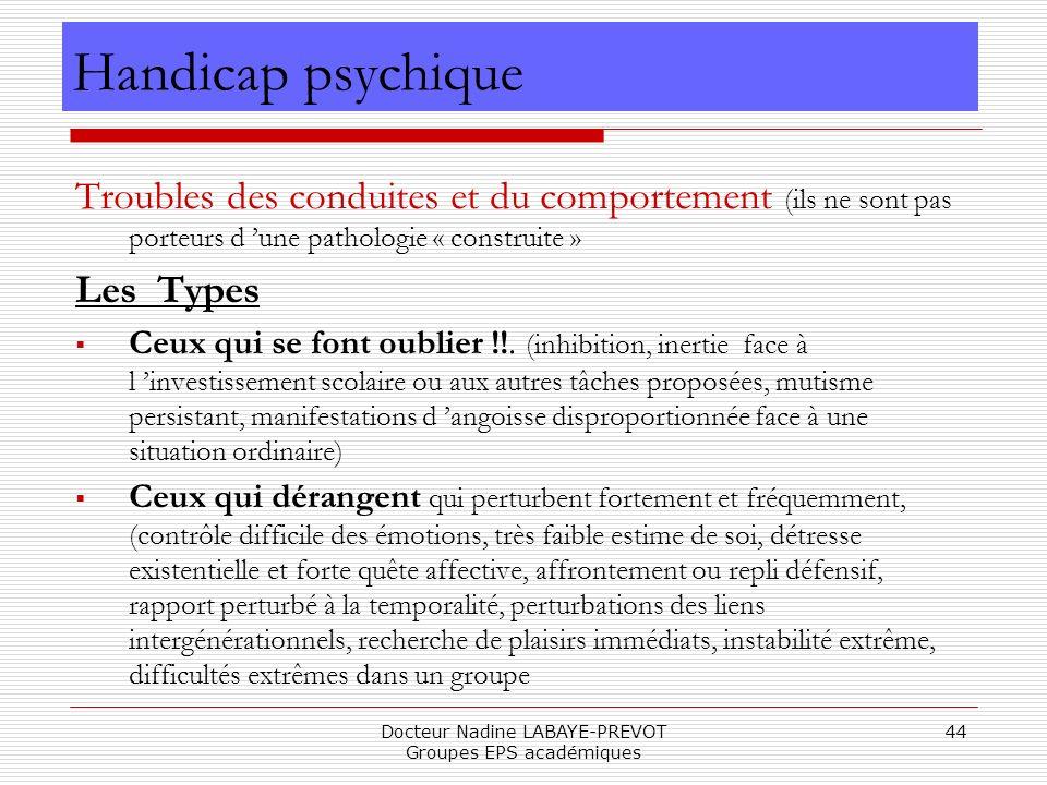 Docteur Nadine LABAYE-PREVOT Groupes EPS académiques 44 Troubles des conduites et du comportement (ils ne sont pas porteurs d une pathologie « constru