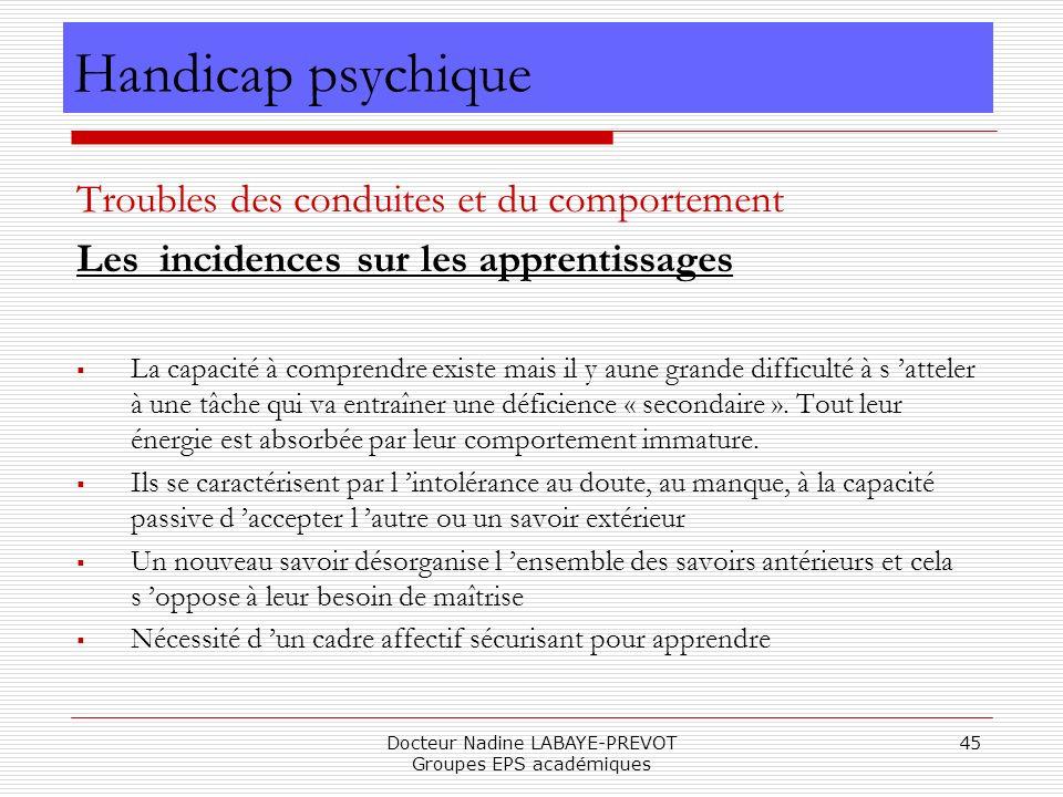 Docteur Nadine LABAYE-PREVOT Groupes EPS académiques 45 Troubles des conduites et du comportement Les incidences sur les apprentissages La capacité à