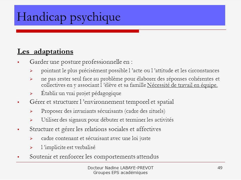 Docteur Nadine LABAYE-PREVOT Groupes EPS académiques 49 Les adaptations Garder une posture professionnelle en : pointant le plus précisément possible
