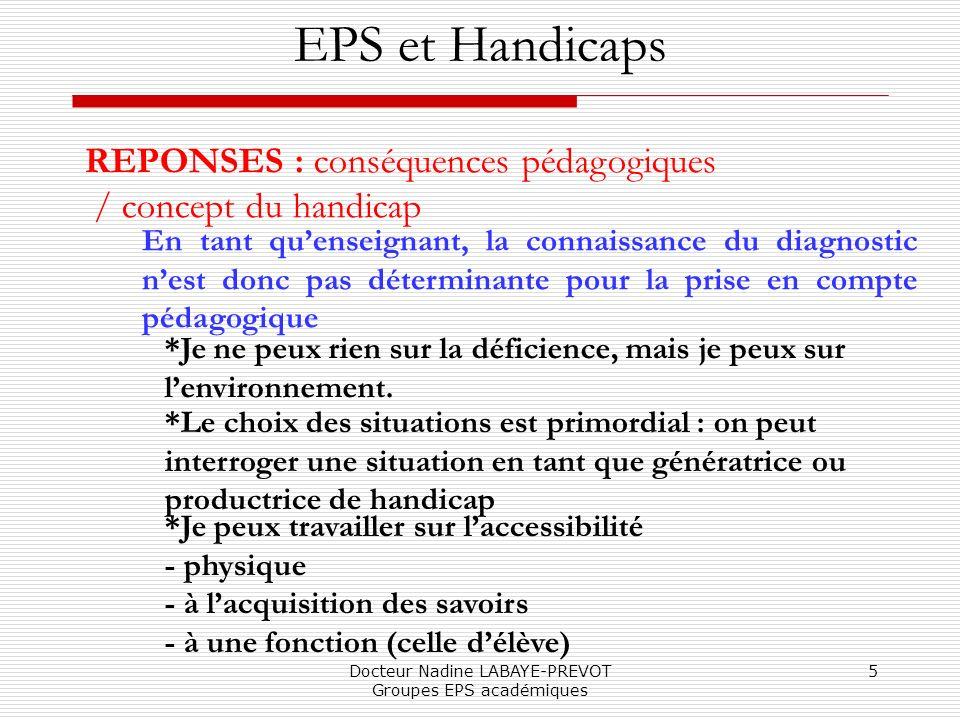 Docteur Nadine LABAYE-PREVOT Groupes EPS académiques 5 EPS et Handicaps REPONSES : conséquences pédagogiques / concept du handicap En tant quenseignan