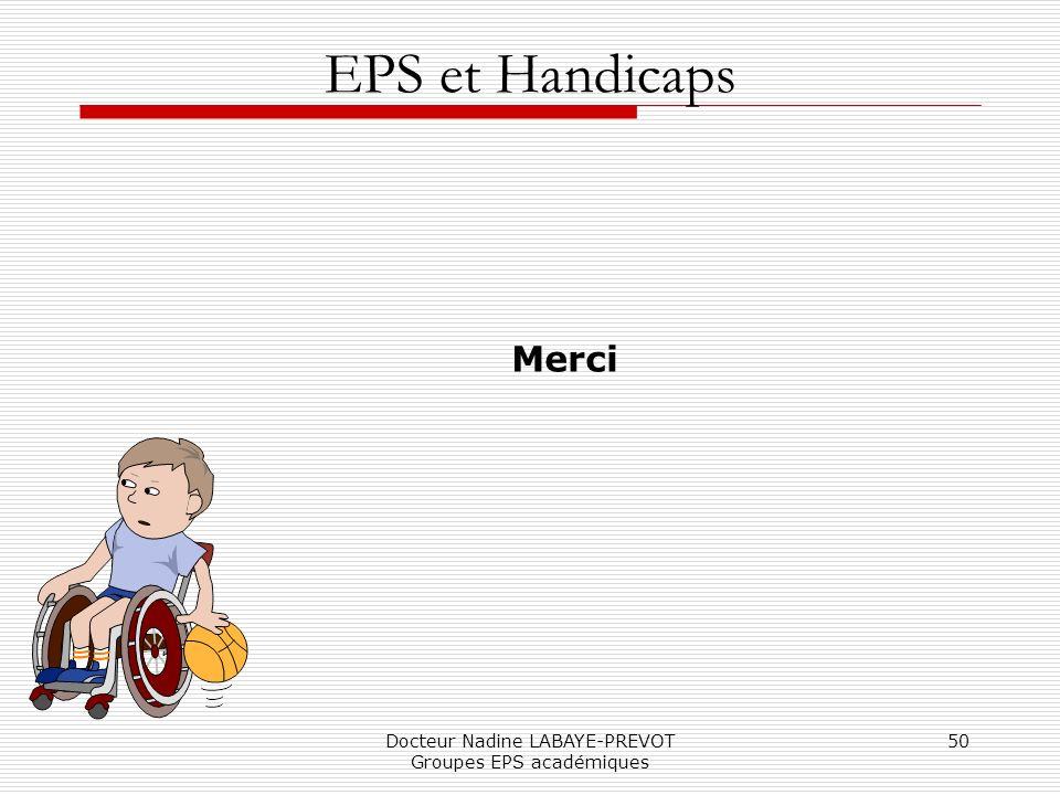 Docteur Nadine LABAYE-PREVOT Groupes EPS académiques 50 EPS et Handicaps Merci