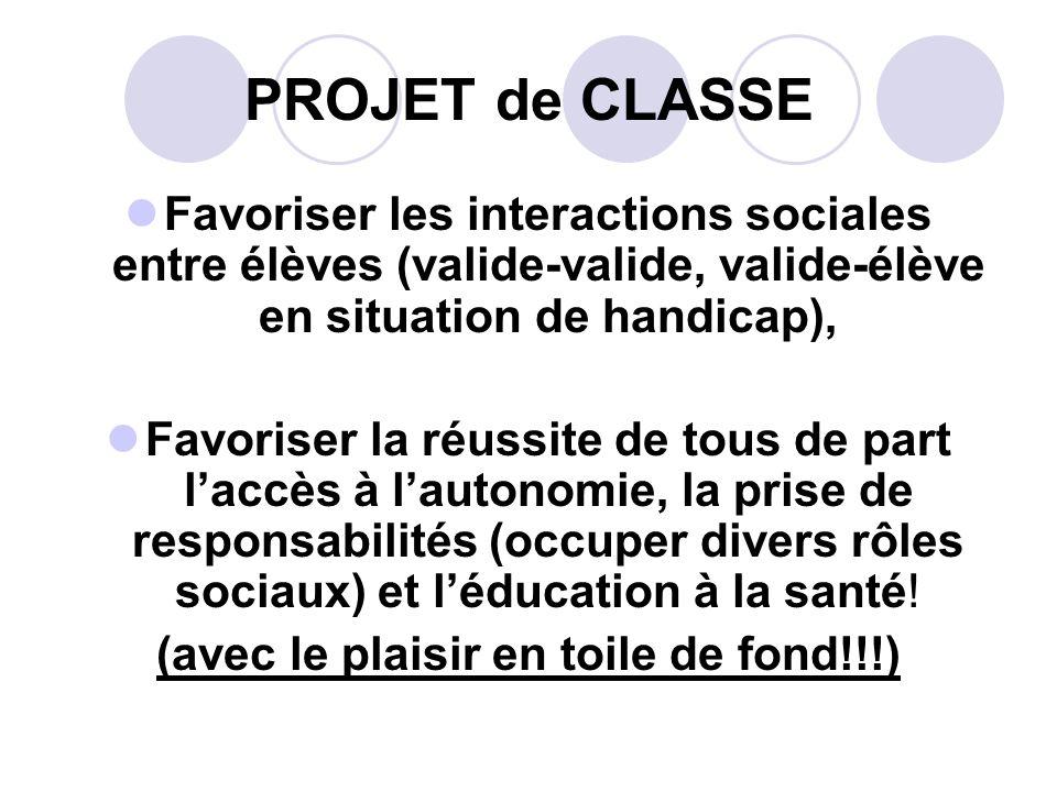 PROJET de CLASSE Favoriser les interactions sociales entre élèves (valide-valide, valide-élève en situation de handicap), Favoriser la réussite de tou