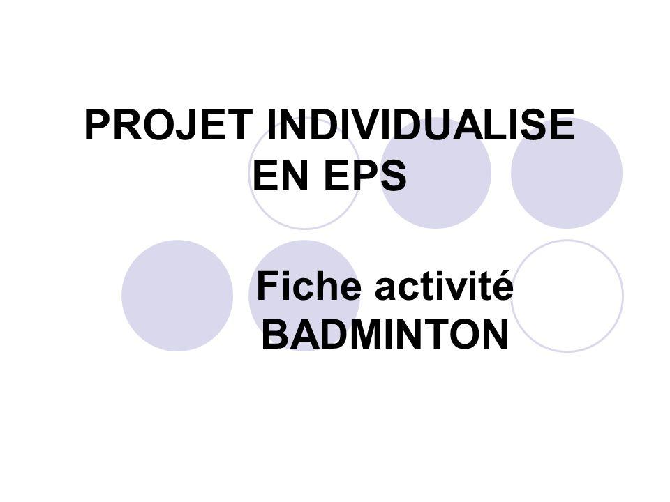 PROJET INDIVIDUALISE EN EPS Fiche activité BADMINTON