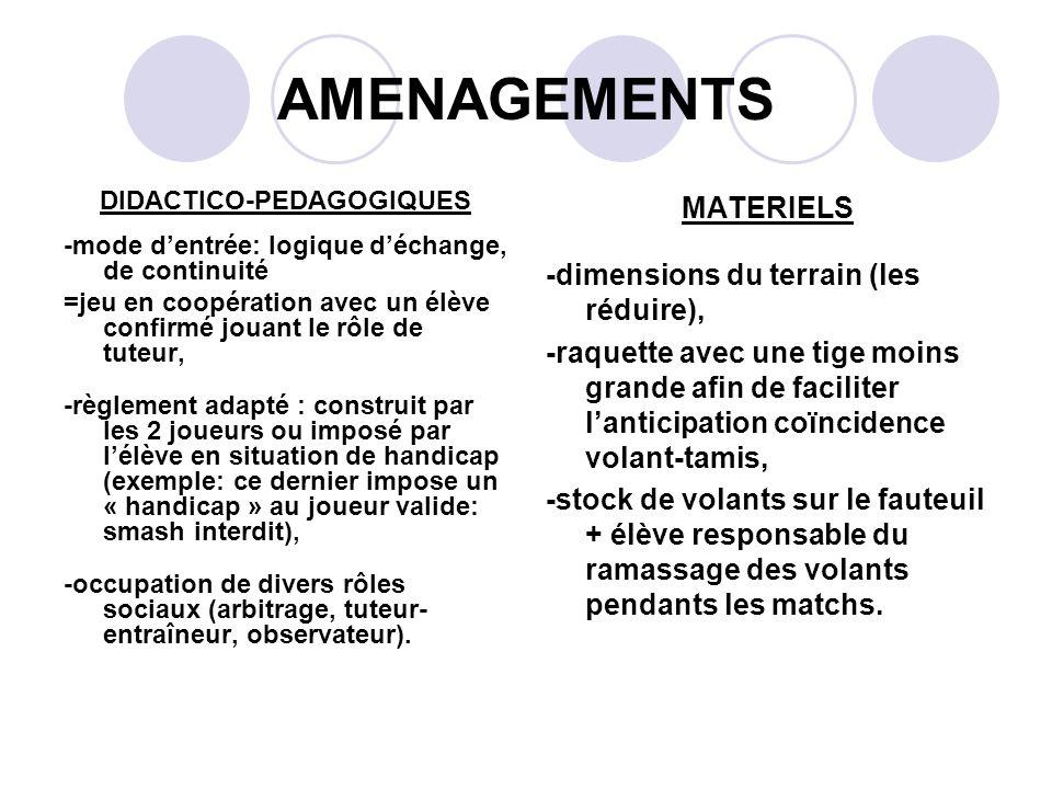 AMENAGEMENTS DIDACTICO-PEDAGOGIQUES -mode dentrée: logique déchange, de continuité =jeu en coopération avec un élève confirmé jouant le rôle de tuteur
