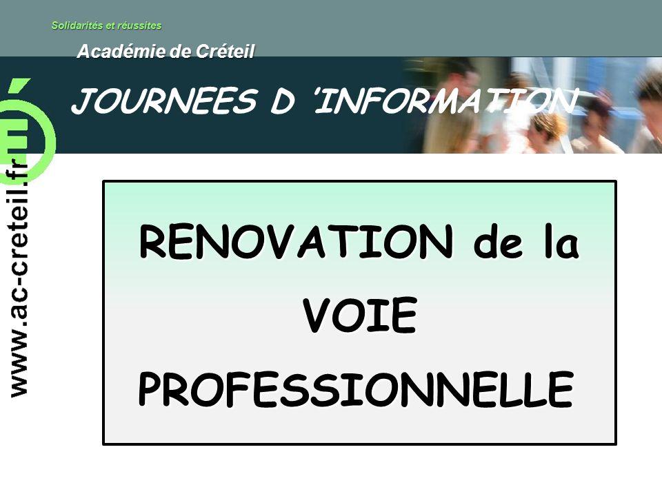 Solidarités et réussites Académie de Créteil Académie de Créteil RENOVATION de la VOIE PROFESSIONNELLE JOURNEES D INFORMATION