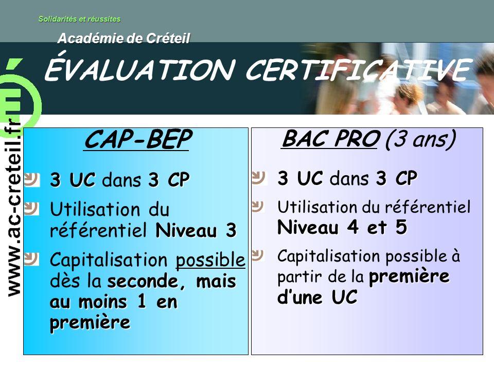 Solidarités et réussites Académie de Créteil Académie de Créteil CAP-BEP 3 UC3 CP 3 UC dans 3 CP Niveau 3 Utilisation du référentiel Niveau 3 seconde, mais au moins 1 en première Capitalisation possible dès la seconde, mais au moins 1 en première BAC PRO (3 ans) 3 UC3 CP 3 UC dans 3 CP Niveau 4 et 5 Utilisation du référentiel Niveau 4 et 5 première dune UC Capitalisation possible à partir de la première dune UC ÉVALUATION CERTIFICATIVE