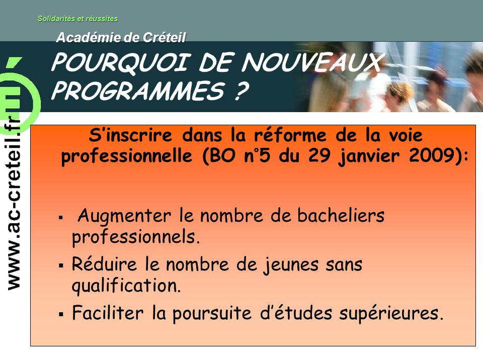 Solidarités et réussites Académie de Créteil Académie de Créteil Sinscrire dans la réforme de la voie professionnelle (BO n°5 du 29 janvier 2009): Augmenter le nombre de bacheliers professionnels.