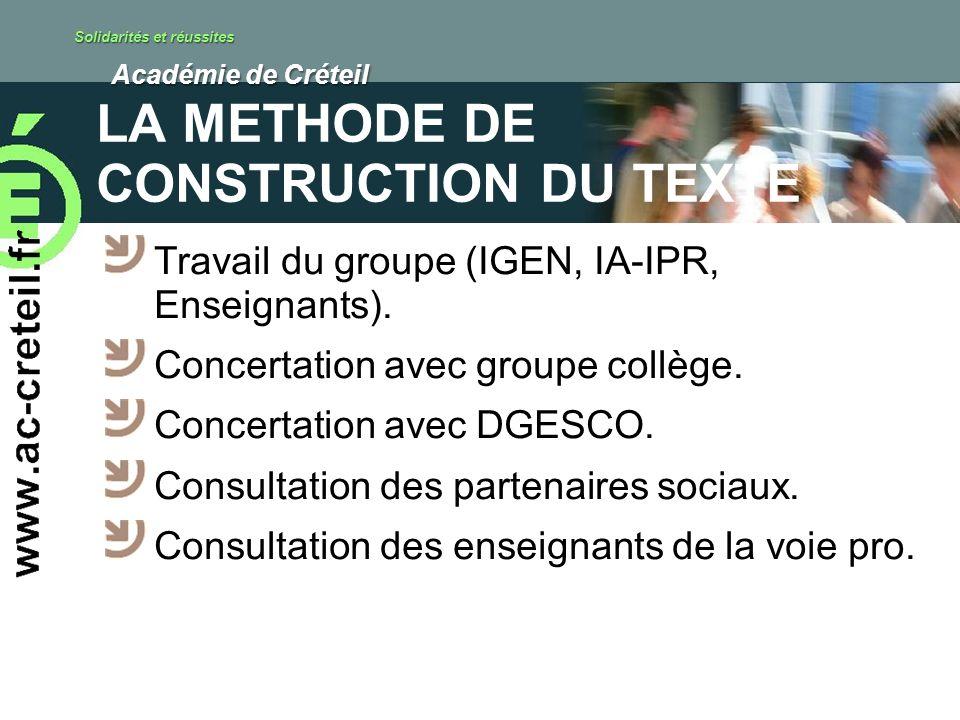 Solidarités et réussites Académie de Créteil Académie de Créteil LA METHODE DE CONSTRUCTION DU TEXTE Travail du groupe (IGEN, IA-IPR, Enseignants).