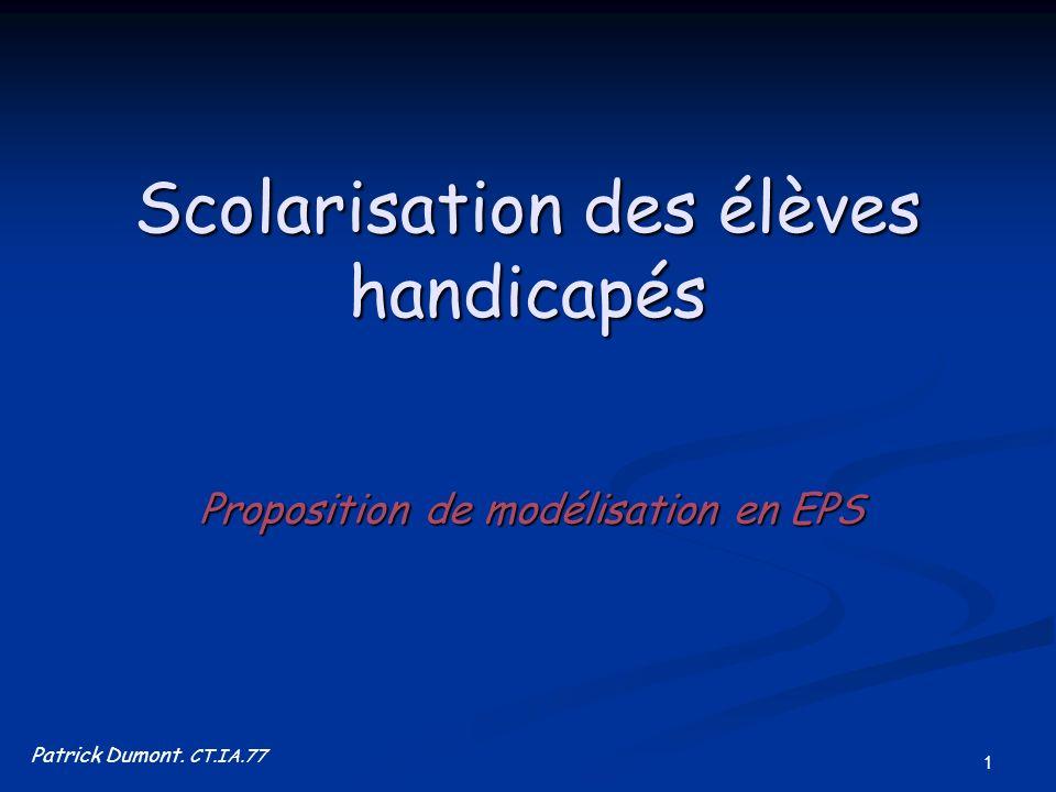 1 Scolarisation des élèves handicapés Proposition de modélisation en EPS Patrick Dumont. CT.IA.77
