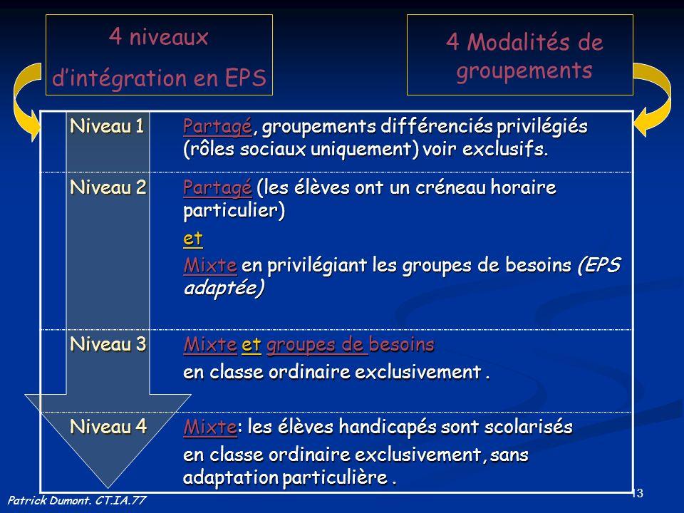 13 Patrick Dumont. CT.IA.77 4 niveaux dintégration en EPS 4 Modalités de groupements Niveau 1 Niveau 1 Partagé, groupements différenciés privilégiés (