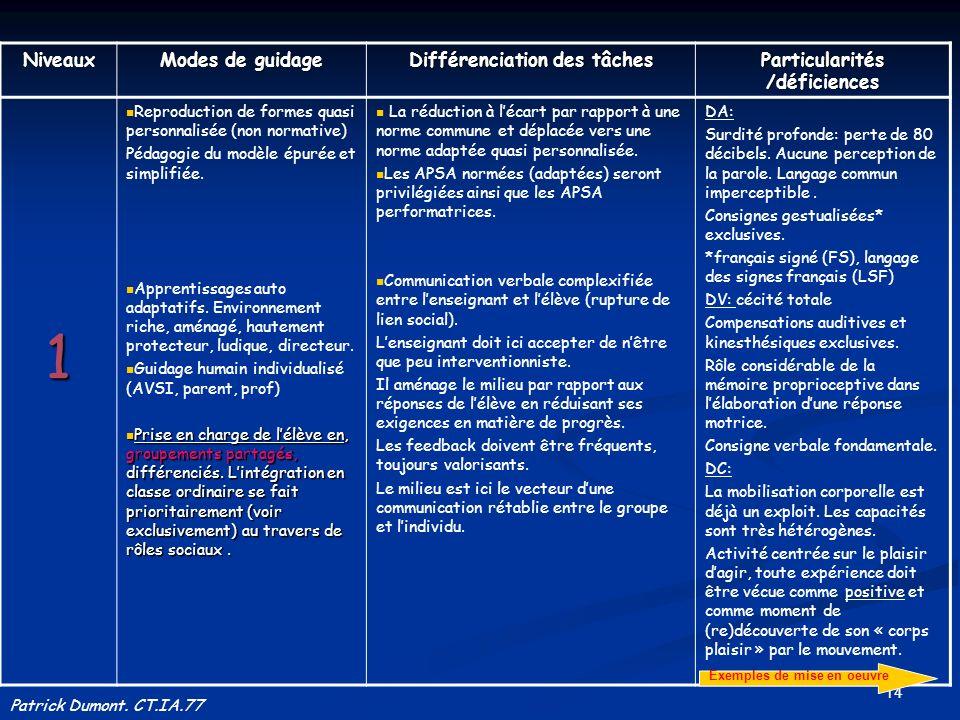14 Niveaux Modes de guidage Différenciation des tâches Particularités /déficiences 1 Reproduction de formes quasi personnalisée (non normative) Pédago