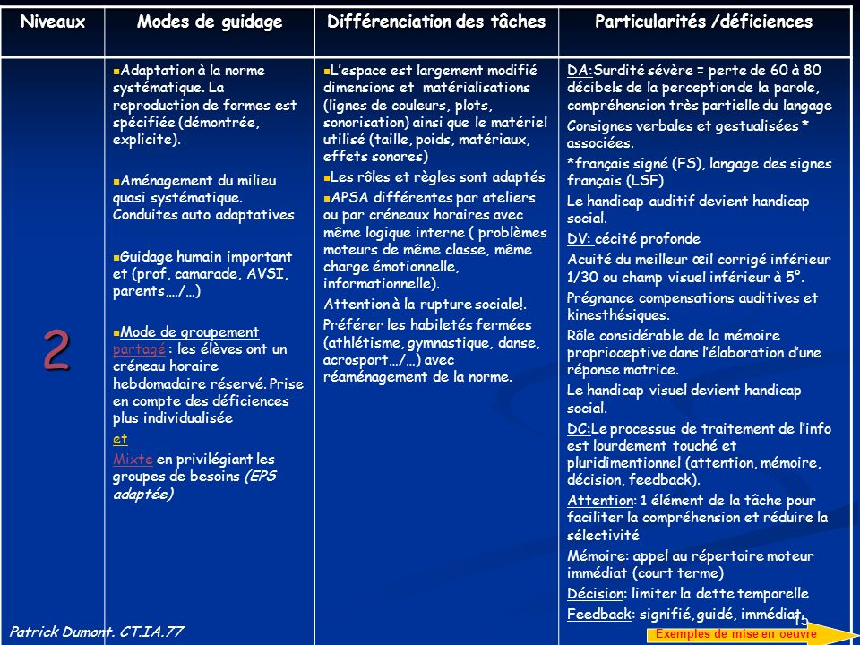 15 Niveaux Modes de guidage Différenciation des tâches Particularités /déficiences 2 Adaptation à la norme systématique. La reproduction de formes est