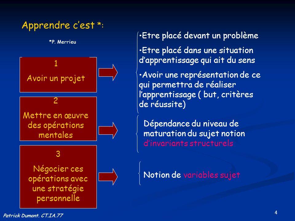 15 Niveaux Modes de guidage Différenciation des tâches Particularités /déficiences 2 Adaptation à la norme systématique.