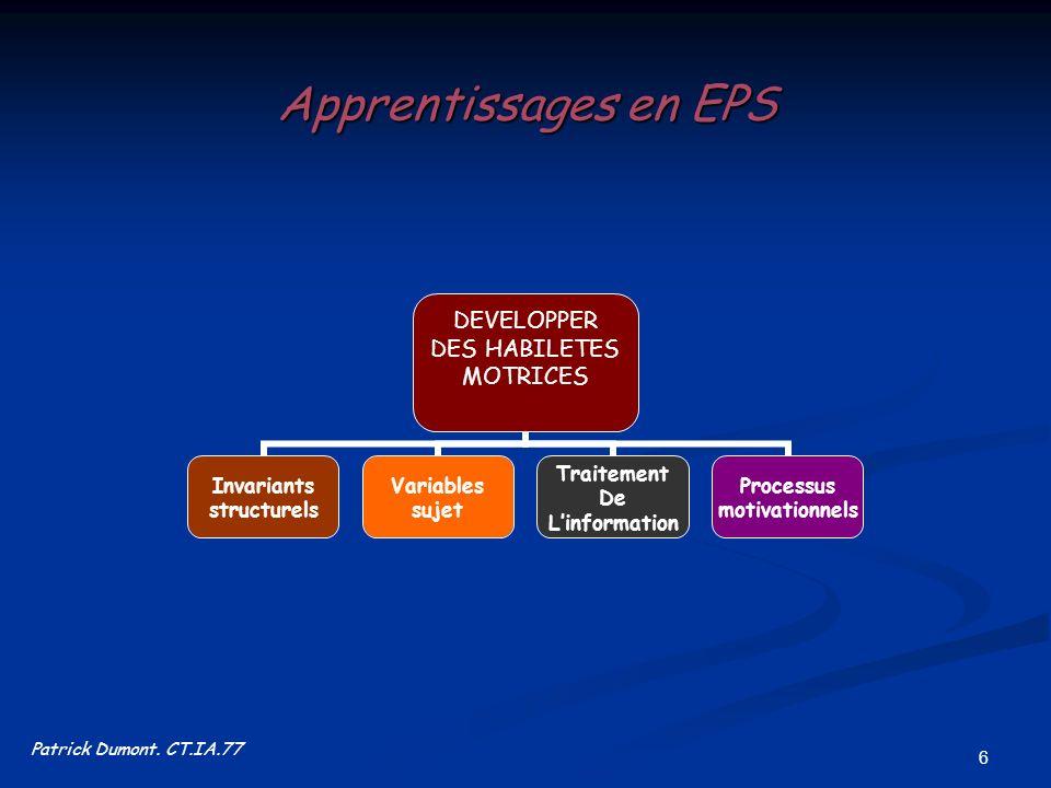 6 Apprentissages en EPS DEVELOPPER DES HABILETES MOTRICES Invariants structurels Variables sujet Traitement De Linformation Processus motivationnels P