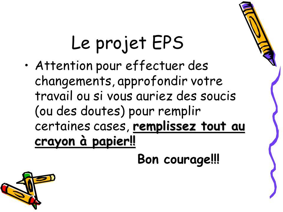 Le projet EPS remplissez tout au crayon à papier!!Attention pour effectuer des changements, approfondir votre travail ou si vous auriez des soucis (ou