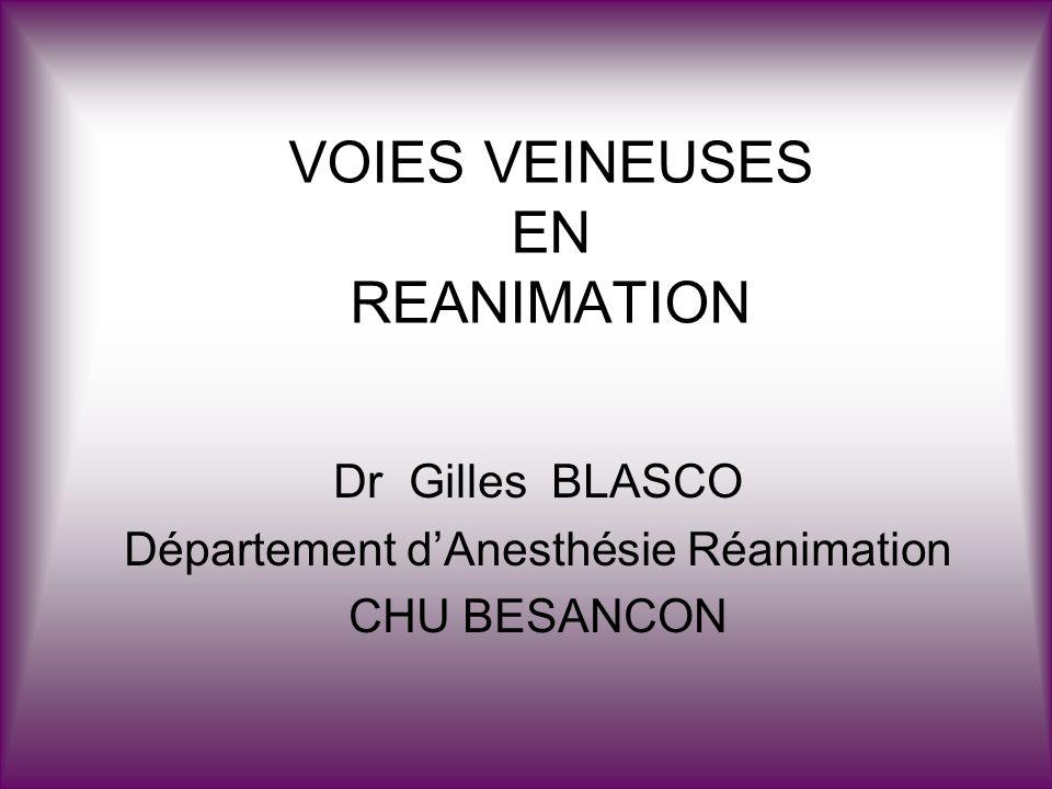 VOIES VEINEUSES EN REANIMATION Dr Gilles BLASCO Département dAnesthésie Réanimation CHU BESANCON