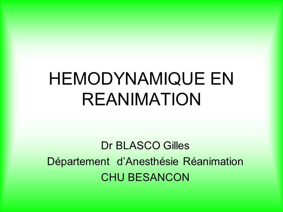 HEMODYNAMIQUE EN REANIMATION Dr BLASCO Gilles Département dAnesthésie Réanimation CHU BESANCON