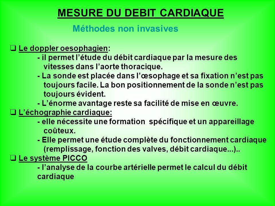 MESURE DU DEBIT CARDIAQUE Méthodes non invasives Le doppler oesophagien: - il permet létude du débit cardiaque par la mesure des vitesses dans laorte